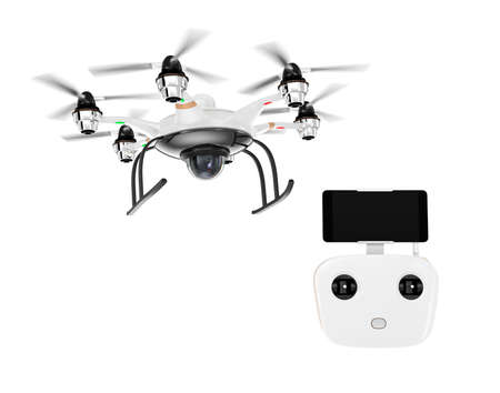 rc: Hexacopter and remote controller isolated on white background. RC controller docking with smartphone. Clipping path available.