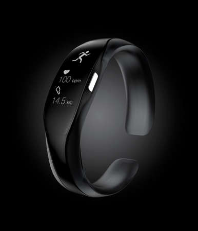 Studio shot image of black smart wristband.  Stock Photo