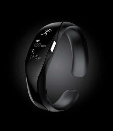 wristband: Studio shot image of black smart wristband.  Stock Photo