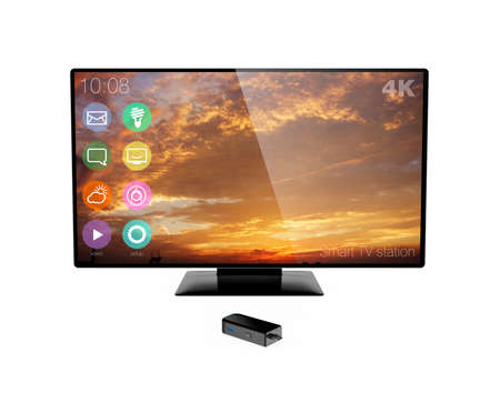 dongle: Sticktype computer and 4K television isolated on white background