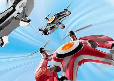 drones: Droni da corsa rossi inseguono nel cielo. Design originale.