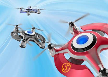drones: Red racing drones chasing in the sky. Original design.