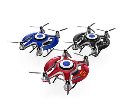 drones: Colorful drones on the ground. 3D rendering image with clipping path.