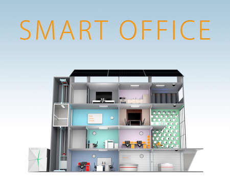 Smart office building concept. The smart offices energy support by solar panel, storage to battery  system.