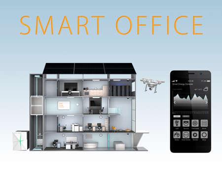 Smart Office en smartphone op een blauwe achtergrond. Energie ondersteuning van zonnepaneel, opslag accusysteem de slimme kantoor. met tekst Stockfoto