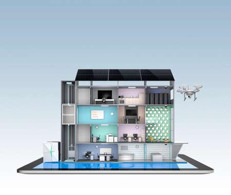 Smart kantoorgebouw model op een tablet-pc. Energie ondersteuning door zonnepanelen en opslag accusysteem module. Stockfoto