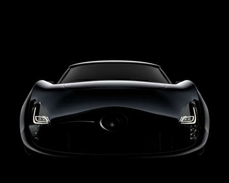 black car: Front view of black sports car isolated on black background. 3D rendering image in original design.