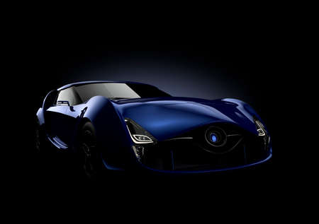 Blue sports car isolated on black background. 3D rendering image in original design. . Banque d'images