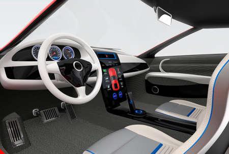 未来の電気車のダッシュ ボード、インテリア デザイン。3 D レンダリング画像クリッピング パスと。