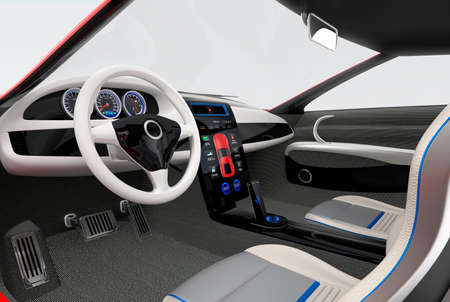 dashboard: Futuristic electric vehicle dashboard and interior design. 3D rendering image with clipping path. Stock Photo