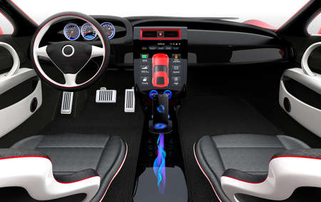 vehicle interior: Futuristic electric vehicle dashboard and interior design. 3D rendering image with clipping path. Stock Photo