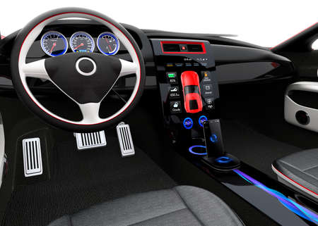 dash: Futuristic electric vehicle dashboard and interior design. 3D rendering image with clipping path. Stock Photo