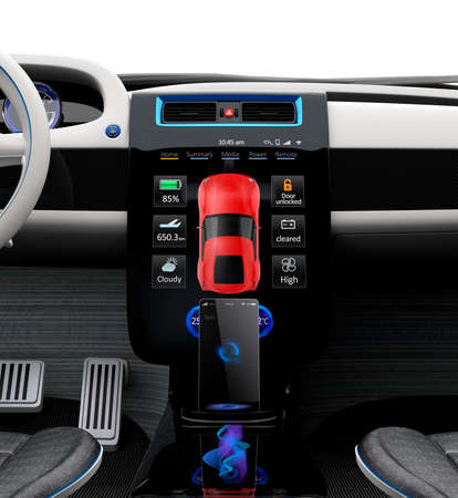 image size: Electric vehicle center console with full size touch panel. 3D rendering image with original design.