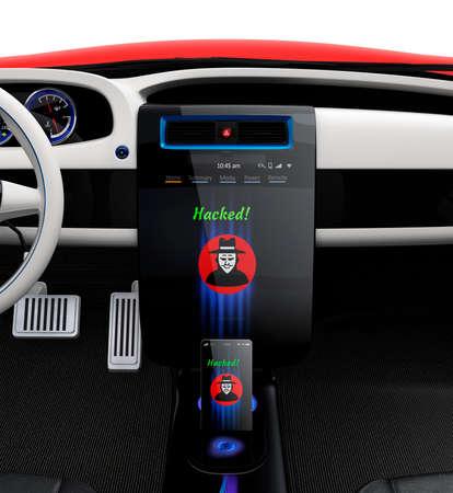 車のセンター コンソールやスマート フォンは、ハッカーのアイコンを表示します。今日の車生活でサイバー犯罪の概念。