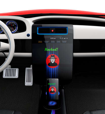 hack: Car center console and smart phone display hacker icon. Concept for cyber crime in Todays car life. Stock Photo