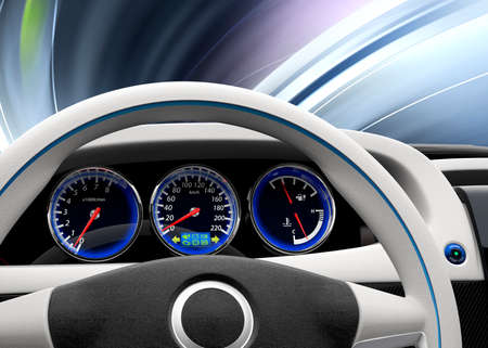 dashboard: Futuristic electric vehicle dashboard and interior design. 3D rendering image with original design. Stock Photo