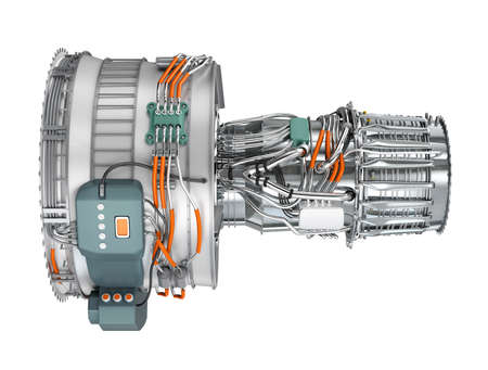 turbine engine: Jet fan engine isolated on white background. Clipping path available. Stock Photo