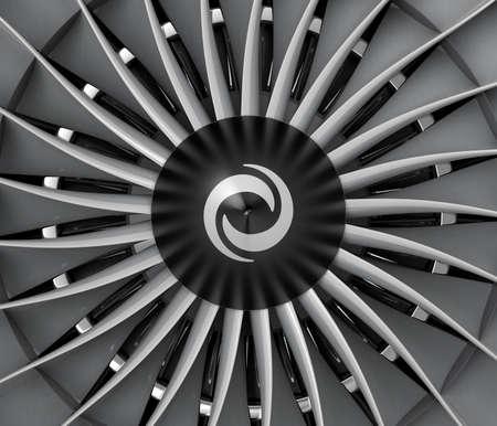 aluminum airplane: Close-up of jet fan engine turbo blades. Stock Photo