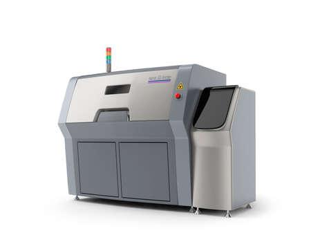 imprenta: Impresora Metal 3D aislada en el fondo blanco. Camino de recortes disponible.