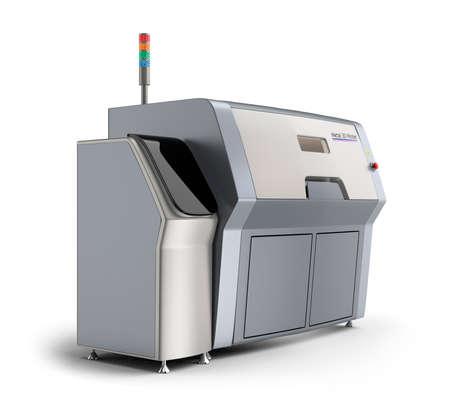 maquinaria: Impresora Metal 3D aislada en el fondo blanco. Camino de recortes disponible.