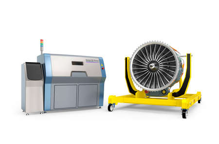 jet engine: Metal 3D printer and Jet fan engine on engine stand. Concept for new manufacture style in smart factory. Stock Photo