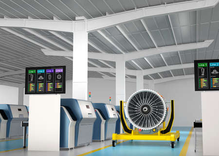 Metal 3D printer and Jet fan engine on engine stand. Concept for new manufacture style in smart factory. Standard-Bild