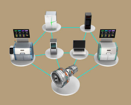 Illustration for smart factory concept. Using network connect computer, 3D printer, smart energy system, cloud service to assembly a jet fan engine.