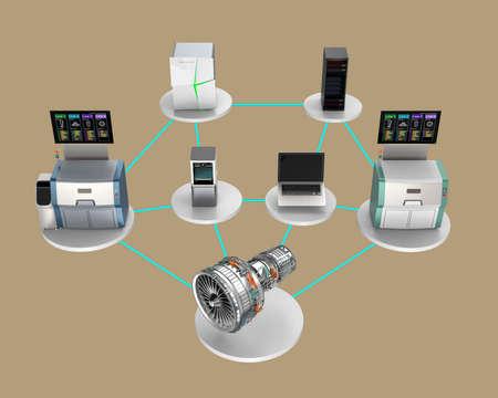 Ilustración para el concepto de fábrica inteligente. El uso de la red se conectan computadora, impresora 3D, sistema de energía inteligente, servicio en la nube para el montaje de un motor del ventilador de chorro.
