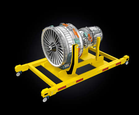 turbine engine: Jet fan engine on yellow engine stand. 3D rendering image with clipping path available. Stock Photo