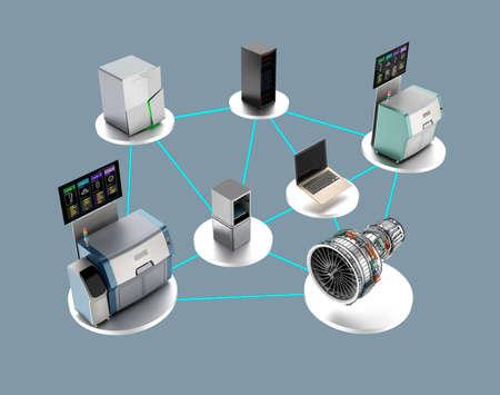 Illustration für intelligentes Fabrikkonzept. Verwenden von Netzwerk-Computer, 3D-Drucker, intelligente Energiesystem, Cloud-Service bis zur Montage ein Jet-Ventilator-Motor. Standard-Bild - 44192325