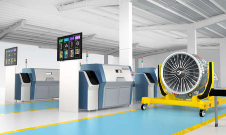 factory line: Metal 3D printer and Jet fan engine on engine stand. Concept for new manufacture style in smart factory. Stock Photo