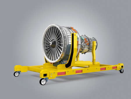 turbofan: Jet fan engine on yellow engine stand. 3D rendering image with clipping path available. Stock Photo