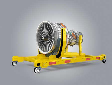 turbina: Motor de ventilador de Jet en el stand del motor amarillo. Imagen 3D con trazado de recorte disponibles.