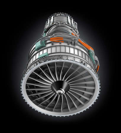 turbofan: Front view of jet fan engine isolated on black background. Clipping path available.