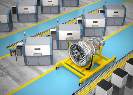 Métal imprimante 3D et le moteur du ventilateur Jet sur le stand du moteur. Concept pour le nouveau style de la fabrication dans l'usine intelligente.