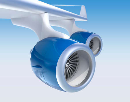 turbofan: Jet turbofan engines with blue color paint isolated on blue sky