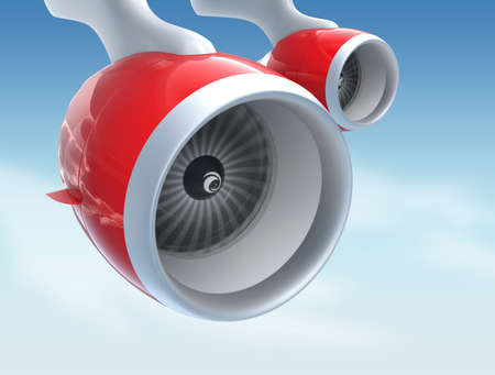 turbofan: Jet turbofan engines with red color paint isolated on blue sky
