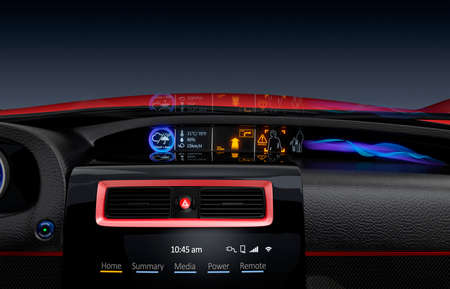 intelligent: Center multi-information console design for intelligent electric car. The system can inform driver that pedestrian closing to the car. Stock Photo