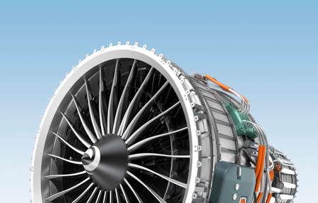 turbofan: Motor a reacci�n Turbofan aisladas sobre fondo azul. Imagen 3D con trazado de recorte. Foto de archivo