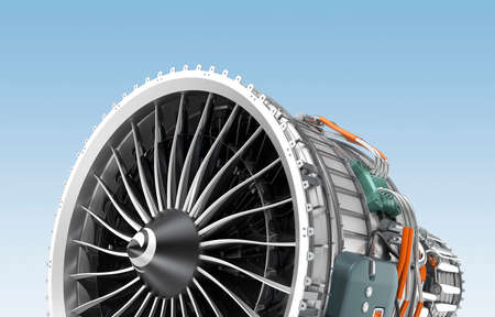 turbofan: Turbofan jet engine isolated on blue background. 3D rendering image with clipping path.