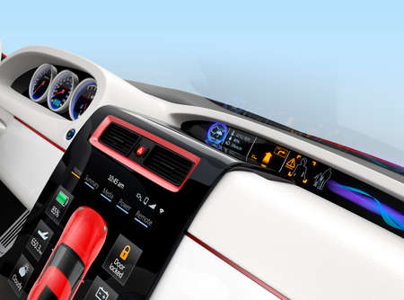 connect: Center multi-information console design for intelligent electric car. The system can inform driver that pedestrian closing to the car. Stock Photo