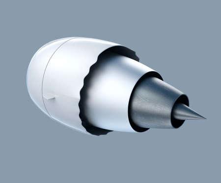 turbofan: vista trasera de un motor turboventilador jet aislado sobre fondo gris. Camino de recortes disponible. Foto de archivo