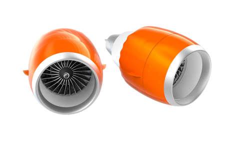 turbofan: Dos Jet motores turbofan con capucha naranja aislada sobre fondo blanco. Camino de recortes disponible.