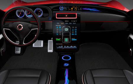 Electric car multimedia interface design concept. 写真素材
