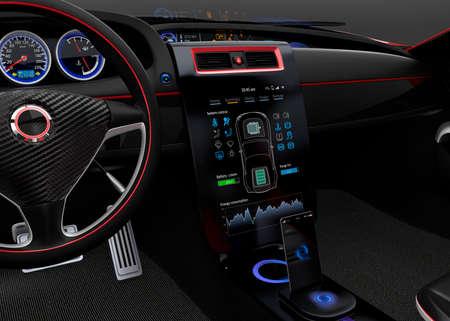 navegacion: Coche eléctrico Interfaz multimedia de panel táctil de diseño simple.