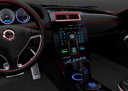 dashboard: Electric car multimedia interface simple design touch panel. Stock Photo