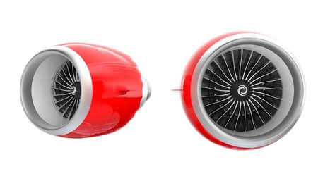 turbina: Dos Jet motores turbofan con capucha de color rojo aisladas sobre fondo blanco. Camino de recortes disponible.