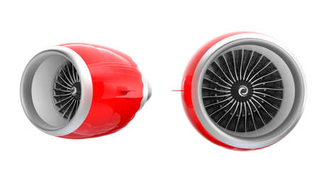 jet engine: Two Jet turbofan engines with red cowl isolated on white background.  Clipping path available. Stock Photo
