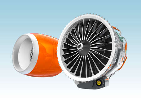 turbofan: Two Jet turbofan engines isolated on blue background. One with orange cowl, another without cowl. Stock Photo