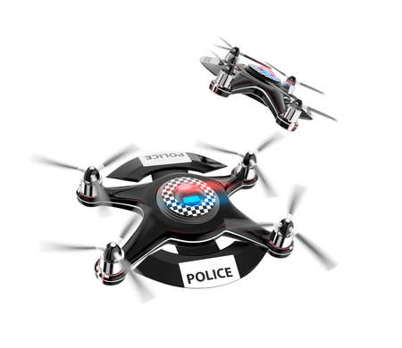 police equipment: Two police drones isolate on white background. Stock Photo